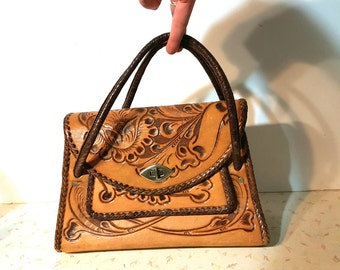 Vintage Large Tooled Leather Purse Huge Boho Retro 1970's Tooled Leather Handbag Flowers Floral