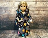 18 inch doll clothes / long hooded bathrobe / belt / pockets / black / grey / stars / turquoise / pink / american made / girl / hood