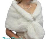 Bridal shrug, Ivory faux fur stole, faux fur shrug, faux fur shawl wedding stole 800M-IVY