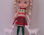 Christmas sweater and a cotton skirt  for Blythe or Pullip