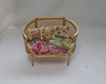 Doll House Miniature Sofa-Chair in antique Gold with genuine antique Petit Point