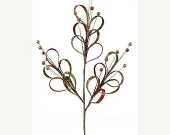 10%OFF 25 Inch Fall Moss Persimmon Gold Loop Spray XS5719NK, Deco Mesh Supplies, Wreath Picks