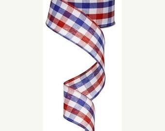 20% OFF 1.5 Inch Red White Blue Check Ribbon RG01054, Deco Mesh Supplies
