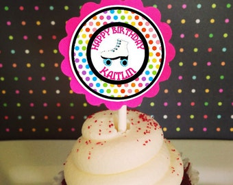 12 rainbow roller skate cupcake toppers, polka dot birthday toppers, rainbow skate party cupcake toppers--set of 12