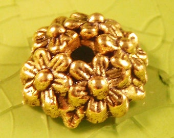 5 gold wreath bead cap end findings Christmas holidays holiday leaves leaf trees tree flower flowers mother nature fall 11mm - C0583-5