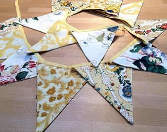 SALE 13m of Lovely YELLOW FLORAL country cottage style bunting - so pretty for a wedding, party or home decor