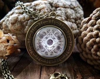 October Nature Mandala Pendant Necklace (bronze finish)