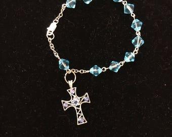 Blue Glass Bicone Rosary Bracelet