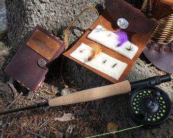 Leather Fly Fishing Wallet in Merlot Saddle and Honey Ginger