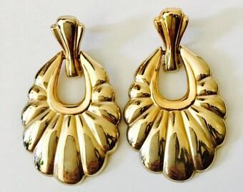 Gold Doorknocker Earrings 90s