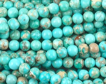 Gemstone-6mm Round Blue Impression Jasper Beads-16 Inch Strand