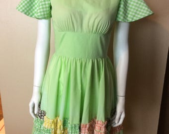 Vintage 1960s Original Myrna Snow Country Square Dance Dress - size Small Yee-Haw!!