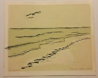 "Vintage Screen printed art ""Solitude"" from 1972 by Lloydean Jones"