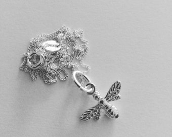 Dainty Sterling Silver Bee Pendant and Necklace