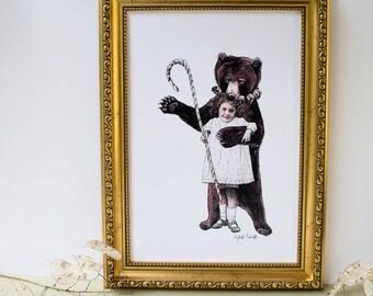 Dancing bear and girl illustration print. Seasonal art. Brown bear. Grizzly bear. Nursery wall art. Home decor print