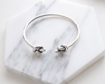 Knot bracelet, silver cuff bracelet,  sentimental jewelry,  bangle bracelet, teenagers  gift, simple chic bracelet, love knot bracelet