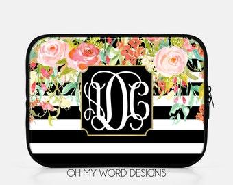 Monogram IPad Sleeve-Water Color Flowers-Neoprene IPad Sleeve-IPad Accessories-Monograms-Gifts-Personalized IPad Sleeve