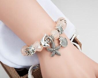 "Rose Pink European Style Silver Tone Bracelet 7""~7.9"" Glass Murano Beads Turtle Seastar Charm E02"