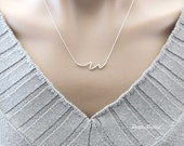 BLACK FRIDAY SALE Wave Necklace in Matte Gold/ Silver. Minimalist. Simple and Chic. Collarbone Necklace. Timeless. Gift For Her (Pnl- 108)