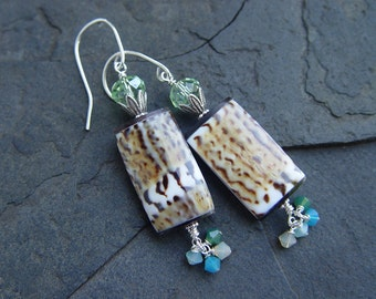 Cowrie Shell, Swarovski and Sterling Silver Earrings