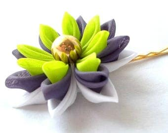 Lotus Hair Flower Lilac and Chartreuse Kanzashi Flower Bobby Pin Spring Colors