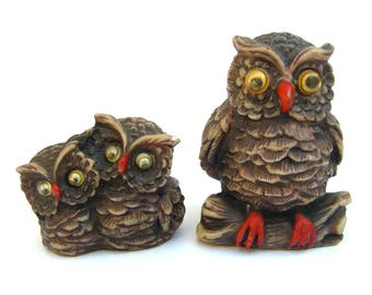 Vintage Owl Figurines, Family, Miniature Owls, Googly Eyes, Mama and Babies, Kitsch