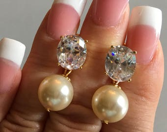 Classic Pearl Bridal Earrings large CZ Rhinestone Stud Earring Posts in Gold or Silver and a 12mm Swarovski Pearl in ivory or your color