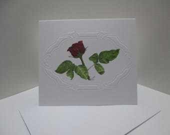 Roses are Red Watercolor Notecard