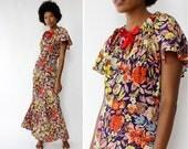 30s Vintage Dress S • Floral Maxi Dress • Red Floral Dress • Floral Gown • Flutter Sleeve Dress • 1930s Dress • Bias Cut Dress | D1342