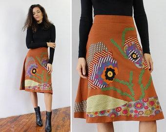 Floral Applique Skirt M/L • Vintage Skirt • 70s Skirt • Flared Skirt Made in Italy • Flared Skirt • Floral Midi Skirt • Knit Skirt | SK742