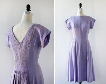 Lace Back 50s Dress S • Cotton Summer Dress • Cap Sleeve Dress • Lavender Dress • Fit and Flare Dress • Low Back Dress • Linen Dress | D529