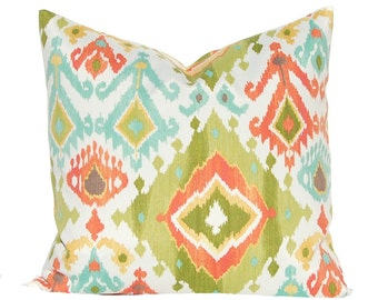 Outdoor Pillow Covers - Lime Green Ikat with Gold, Coral and Turquoise - Garden Decor - Patio Furniture Cushion - Polyester Outdoor Fabric