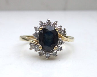 Vintage 14k Solid Yellow Gold Blue Sapphire and Diamond Halo Ring, Size 7 // Halo Ring //