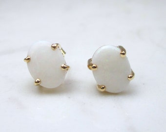 Vintage Oval Cabochon Natural White Opal Pierced Earrings Studs Set in Solid 10k Yellow Gold