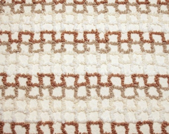 24 x 18 Inches - Wonderful Geometric Stripe Brown, Taupe, Cream and White Cabin Crafts Vintage Chenille Bedspread Fabric Piece