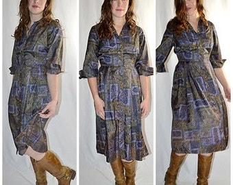 Vintage 1950s Dark Olive and Purple Moroccan Print Button Front Shirtwaist Dress 29 Inch Waist