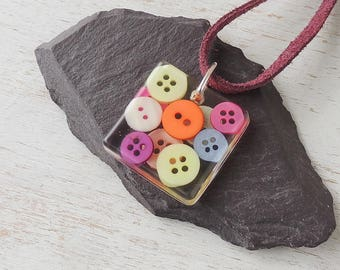 Buttons Pendant on Burgundy Red Suede Necklace, Primary Colour Buttons Resin Pendant, Resin Jewellery, Button Jewellery, UK. 288