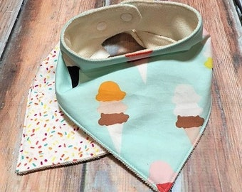 Gender Neutral Bandana Bib Ice Cream Cones Bib Set Baby Gift Drool Bib Baby Shower Gift Sprinkles Bandana Bib Set Organic Bamboo Bib