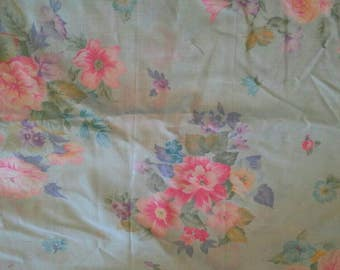 Pink Floral on Blue Lightweight Cotton Fabric 3 1/2 Yards  X0784