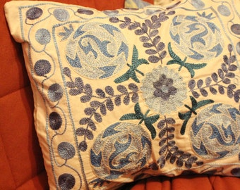 Blue silk embroidered suzani pillow. Accent pillow