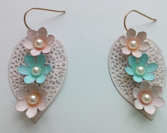 Pastel color painting leaf earrings with flowers and Swarovski pearls
