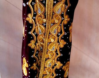 Uzbek vintage gold embroidered chapan. Tribal, ethnic kaftan
