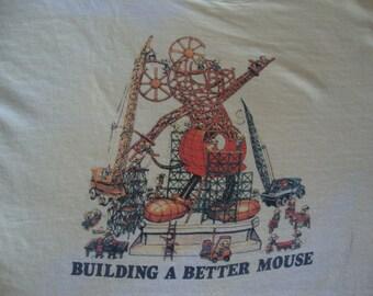 Vintage 80's Walt Disney World Bulding a better Mickey Mouse  Cartoon Soft Paper Thin T Shirt Adult size M