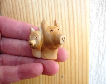 Wooden pigs pirtrait , miniature wall art, trophy sculpture, wall sculpture, animal portrait, wall hanging, unique wood carving