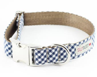 Navy Blue Gingham Dog Collar