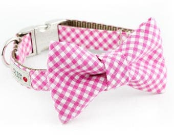 Pink Gingham Dog Bowtie Collar