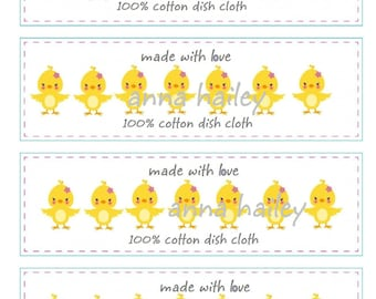Easter Chicks Crochet Wrapper, Printable PDF, Tags Labels