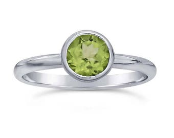 Sterling Silver Round Gemstone-Set Ring, choose your size