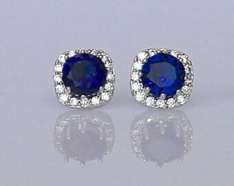 Blue Crystal Stud Earrings, Blue Bridal Earrings, Bridesmaids Blue Stud Earrings, Sapphire Post Earrings,  Something Blue,  RIKKI Sapphire