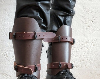 Leather Dystopian Shin Guards - Brown - mad max, apocalypse, fury road, burning man, please read description carefully for size